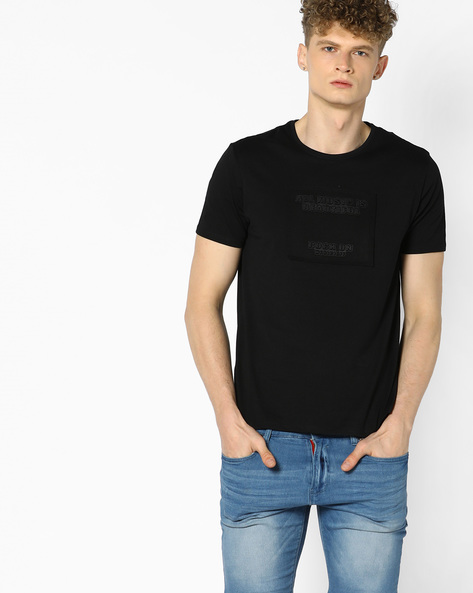 Crew-Neck T-shirt With Applique By AJIO ( Black )