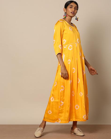 Cotton Satin Bandhej Print Maxi Dress By Miar Designs ( Yellow )
