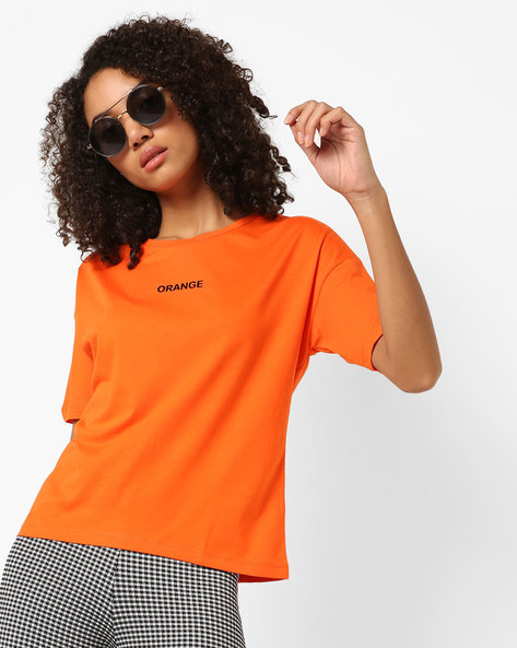 Crew-Neck T-shirt With Typography By Only ( Orange )