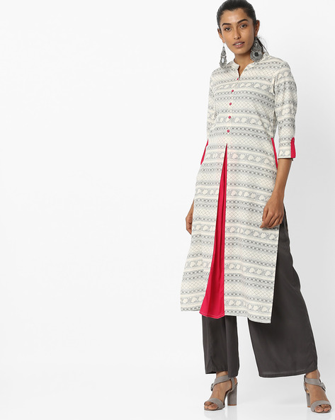 Printed Straight Kurta With Side Pockets By AVAASA MIX N' MATCH ( Offwhite )