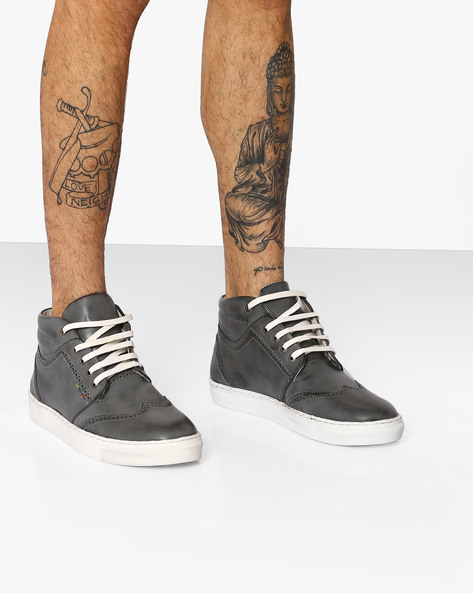 Faux-Leather High-Top Sneakers By TURN ( Grey )