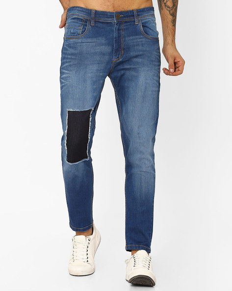 Slim Fit Lightly Washed Jeans By ADAMO LONDON ( Navyblue )