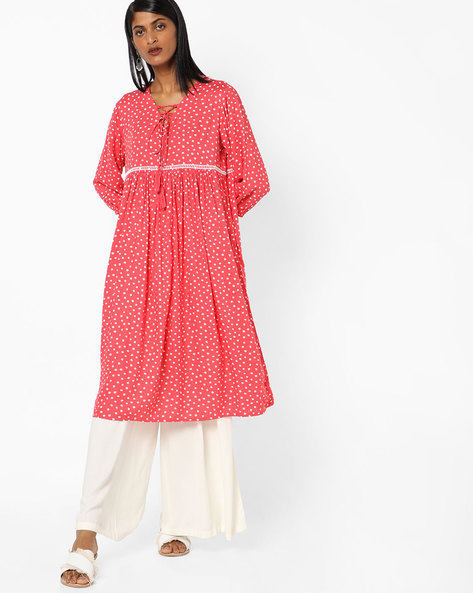 Polka-Dot Kurta With Lace-Up Fastening By AJIO ( Coral )