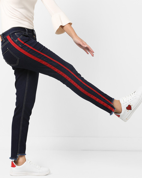 Mid-Rise Jeans With Step Hems By AJIO ( Darkblue )