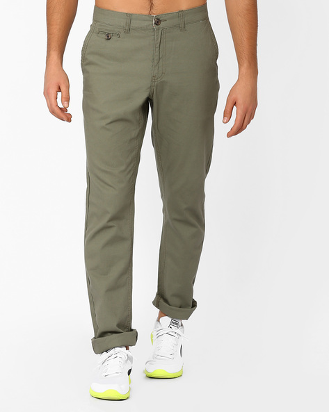 Mid-Rise Tapered Trousers By NETPLAY ( Medgrey )