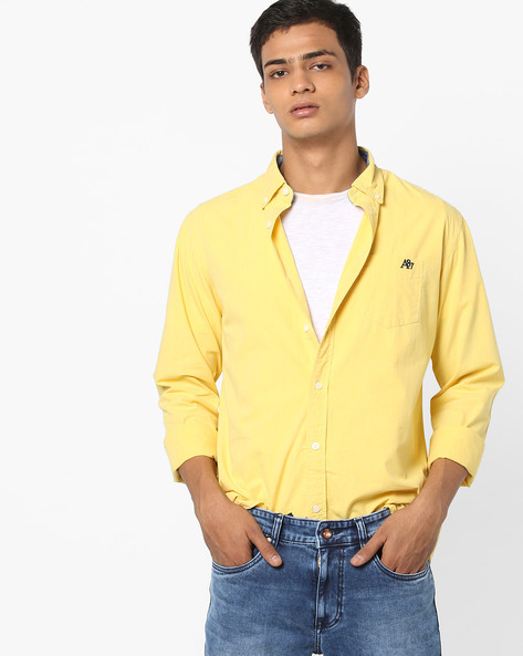 Full-Sleeve Shirt With Button-Down Collar By Aeropostale ( Yellow )