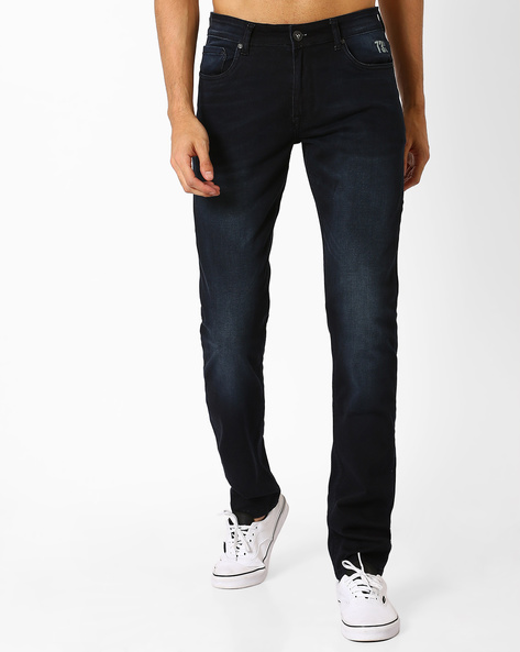 Lightly Washed Low-Rise Skinny Jeans By Pepe Jeans ( Blue )