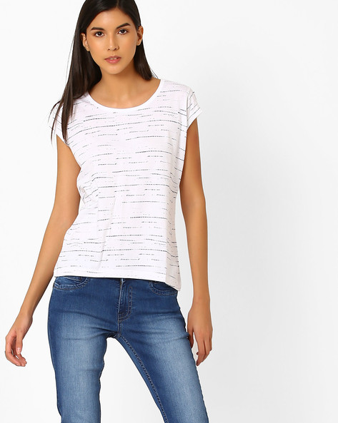 Printed Top With Extended Sleeves By WRANGLER ( White )