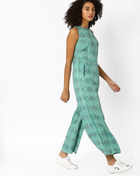 Printed Sleeveless Jumpsuit By AJIO ( Teal )