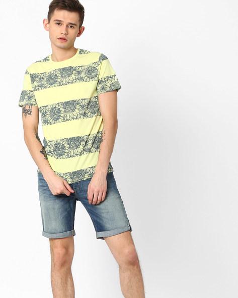Floral Print Crew-Neck T-shirt By AJIO ( Lgtyellow )