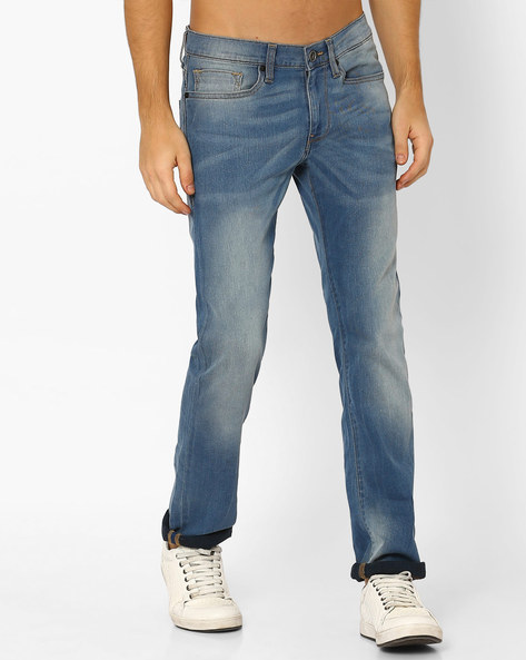 Coenz Slim Fit Lightly Washed Jeans By Celio ( Stone )
