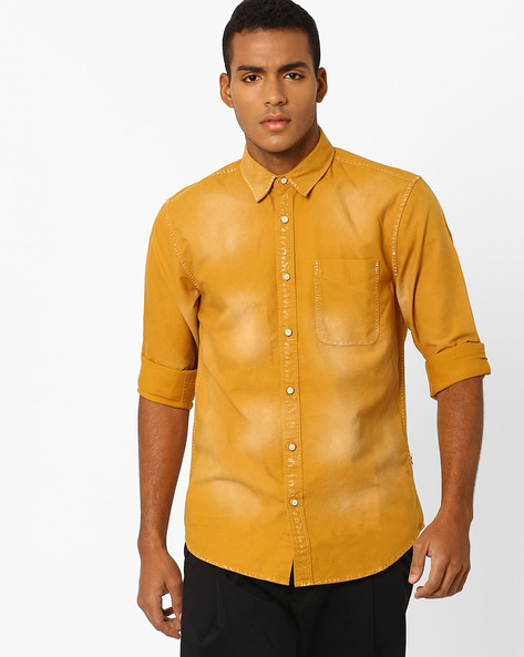 Slim Fit Shirt With Patch Pocket By Jack & Jones ( Gold )