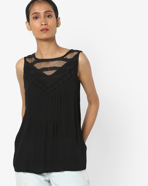 Sleeveless Top With Sheer Lace Panel By AJIO ( Black )