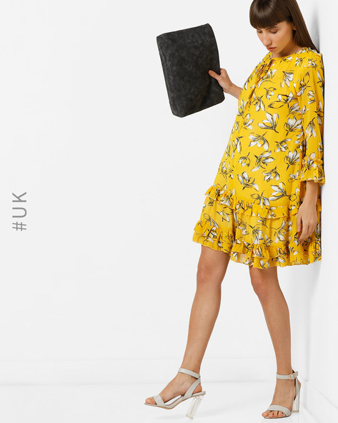 Floral Print Shift Dress With Ruffled Panels By OEUVRE ( Yellow )