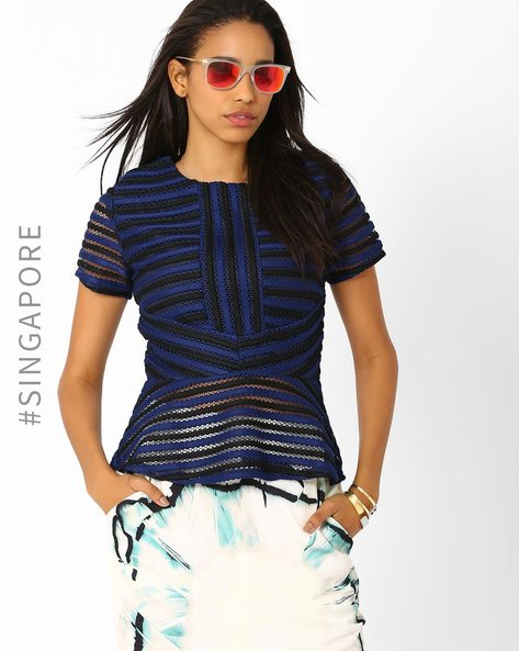Striped Mesh Top By MDS ( Navyblue )