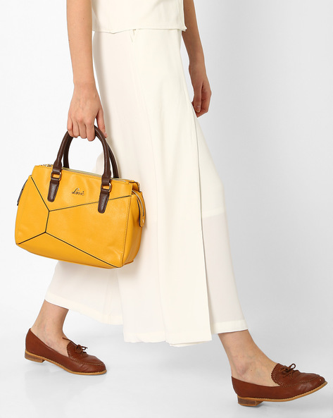 Panelled Handbag With Rolled Handles By Lavie ( Mustard )