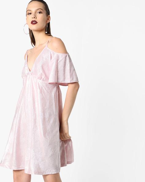 Cold-Shoulder Foil Dress By Oxolloxo ( Pink )