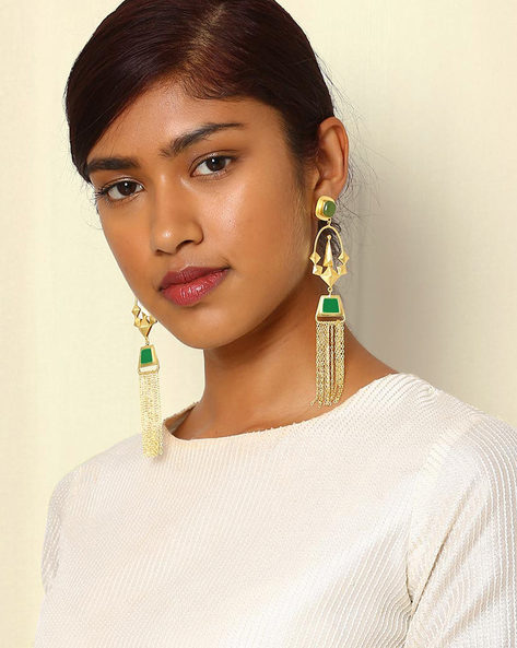Gold-Plated Statement Drop-Earrings With Tassels By Indie Picks ( Green )