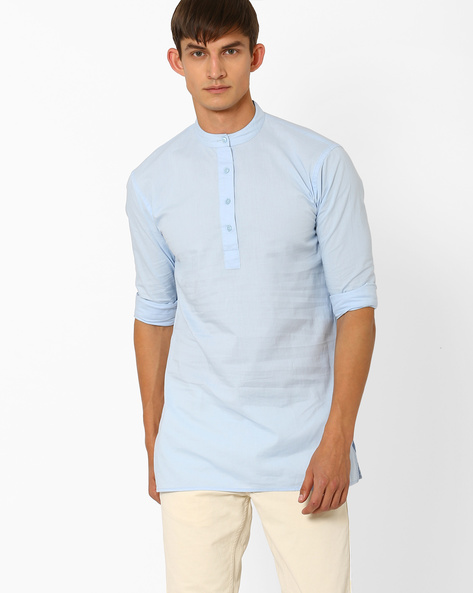 Slim Fit Shirt With Mandarin Collar By ANTIFERRO ( Lightblue )