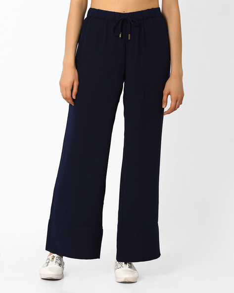 Palazzo Pants With Elasticated Waistband By AJIO ( Navyblue )