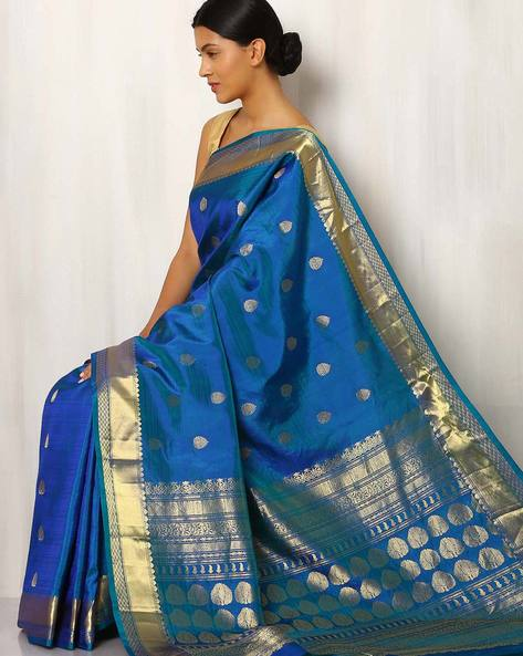 Handwoven Buti Pure Silk Saree With Zari Border By Rudrakaashe-MSU ( Blue )