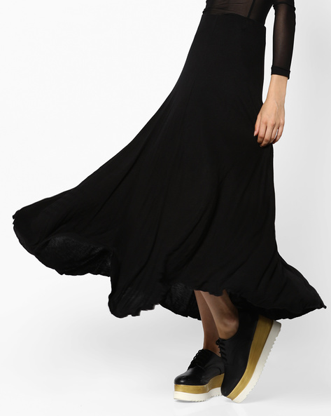 Maxi Skirt With Elasticated Waist By CODE By Lifestyle ( Black )