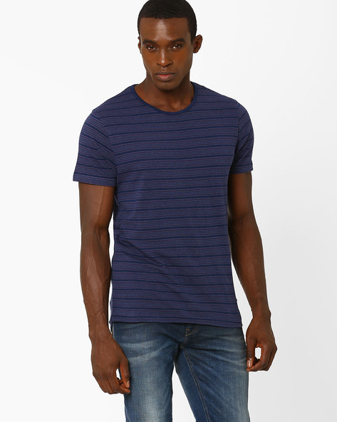 Slim Fit Striped T-shirt By VOI JEANS ( Navy ) - 460039011003