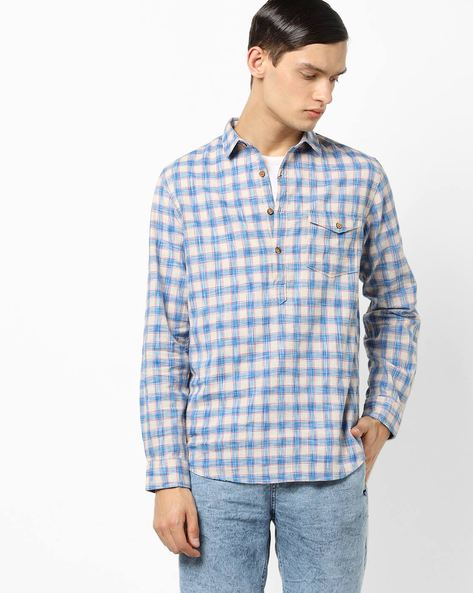 Checked Shirt With Half Button Placket By AJIO ( Blue )