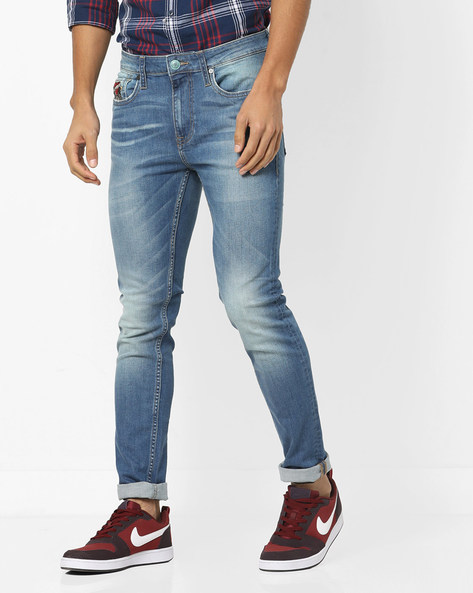 Super Slim Fit Jeans With Whiskers By ED HARDY ( Blue ) - 460155707001