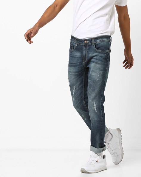 Distressed Slim Fit Jeans By AJIO ( Blue )