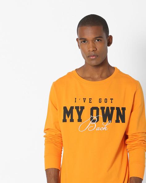 Typographic Print Crew-Neck Sweatshirt By ADAMO LONDON ( Orange )
