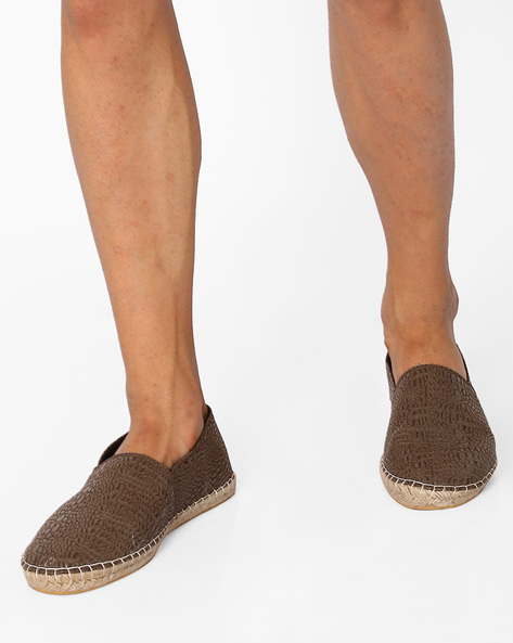 Textured PU Espadrilles By FAMOZI ( Brown )