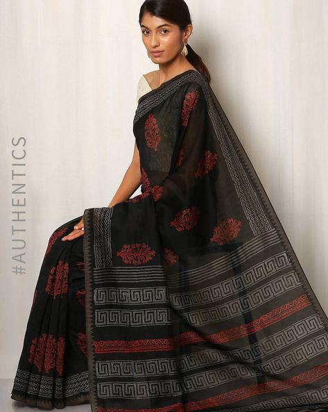 Patri Print Chanderi Saree With Ghicha Border By Indie Picks ( Black ) - 460016661001