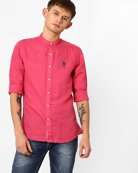 Shirt With Band Collar By US POLO ( Assorted )