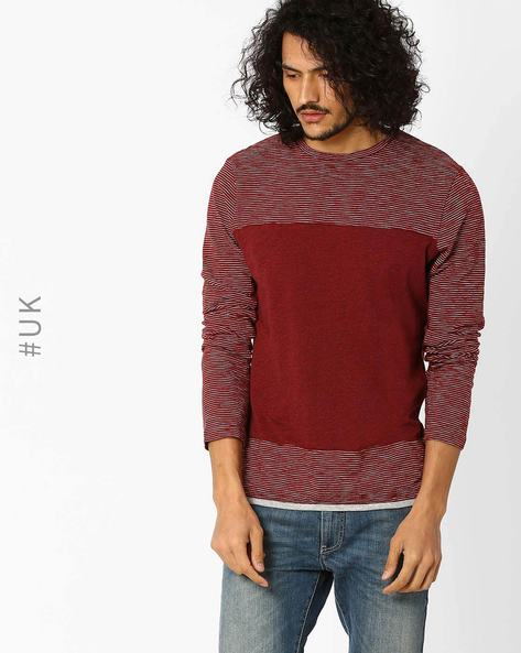 Panelled Striped T-shirt By Native Youth ( Burgundy )