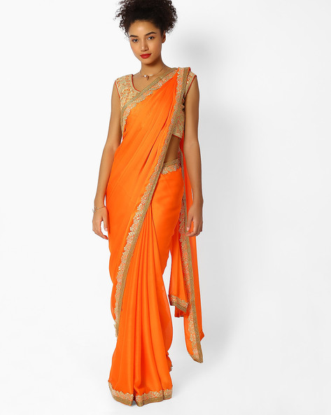 Woven Saree With Embroidered Border By Majestic Silk ( Orange ) - 460100255001