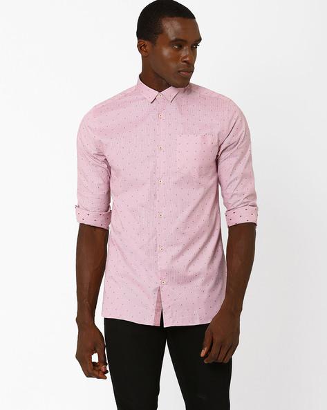 Slim Fit Spot Print Cotton Shirt By Jack & Jones ( White )