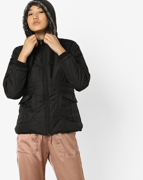 Quilted Bomber Jacket With Hood By Fort Collins ( Black )