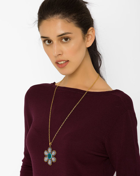 Chain With Floral Pendant By AJIO ( Lightblue )