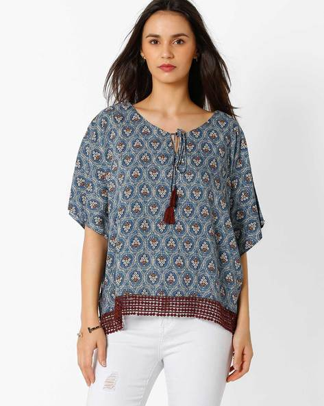 Printed Top With Tie-Up By Global Desi ( Multi )