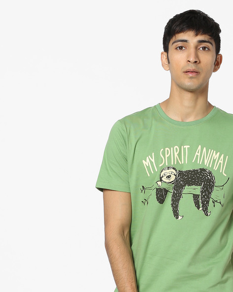Animal Print Cotton T-shirt By Souled Store ( Green )
