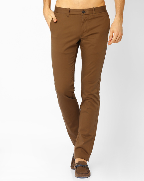 Flat-Front Slim Fit Trousers By INDIAN TERRAIN ( Brown )