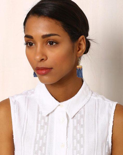 Beaded Drop-Earrings With Tassels By Indie Picks ( Multi ) - 460042538001