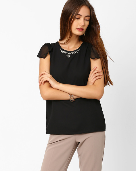 Embellished Top With Ruffle Sleeves By CHM ( Black )
