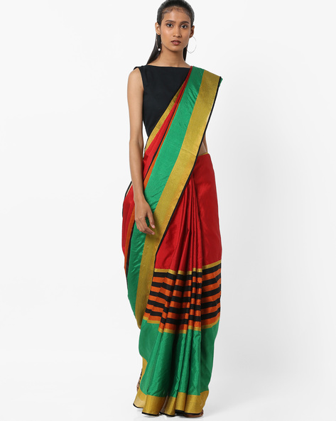 Striped Saree With Zari Border By Florence ( Red )