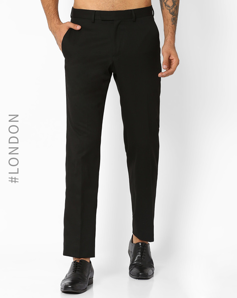 Crease-Resistant Slim Fit Trousers By Marks & Spencer ( Black )