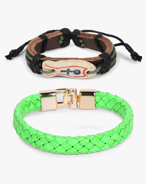 Set Of 2 Bracelets By ALPHA MAN ( Green )