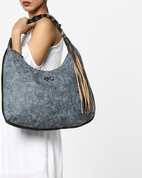 Embossed Floral Patterned Hobo Bag By E2O ( Blue )