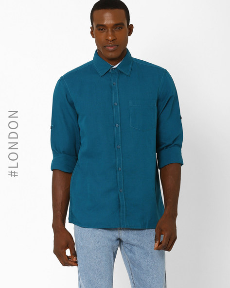 Linen Shirt With Patch Pocket By Marks & Spencer ( Lgtgreen )
