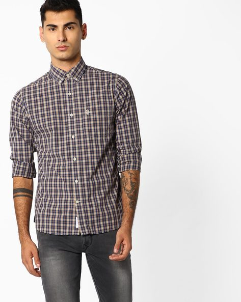 Checked Shirt With Patch Pocket By US POLO ( Brown )